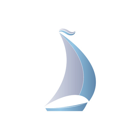 brigantine: Two-colored boat with sails on a white background.