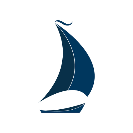 Het schip met zeilen vectorillustratie. Logo voor Yacht Club. Stock Illustratie