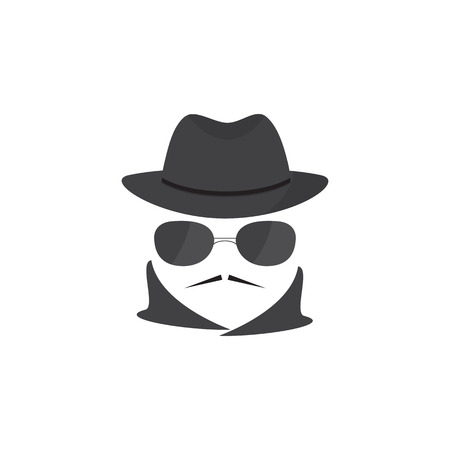 mobster: Unknown man  with a mustache in hat and glasses. Mafioso. Secret agent. Mobster Illustration