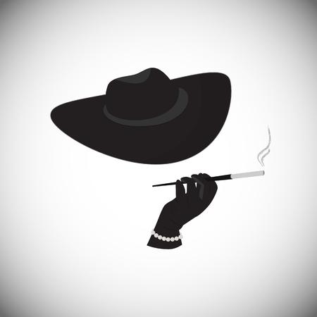 Die fremde Dame in einem Hut eine Zigarette im Mundstück zu halten. Eine Frau in einem Mafia-Stil.