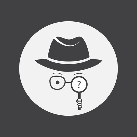 unrecognizable person: Detective. Spy. Unknown man in hat, glasses and a magnifying glass in hand