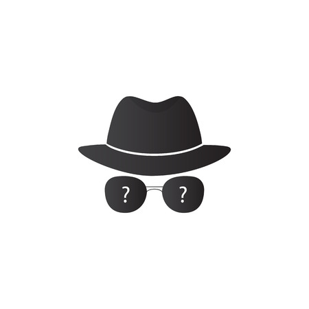 searcher: Strange person in a hat and dark glasses. Spy. Vector icons for search engine