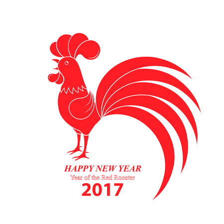 Chinese New Year 2017. Year of the rooster. Red cock crowing.