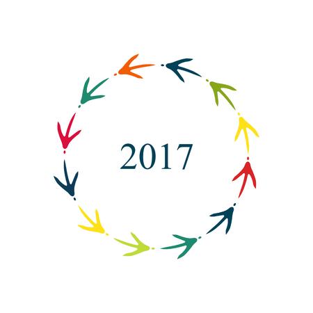 Frohes neues Jahr 2017. Farbige Hühner Fußabdrücke Rahmen.