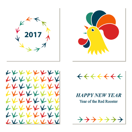 Roter Hahn des chinesischen neuen Jahres. Muster mit Hühnerpfotenabdrücken. Grußkarte. Illustration