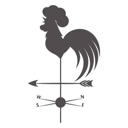 windward: Weather vane. Gray rooster on a white background. Illustration