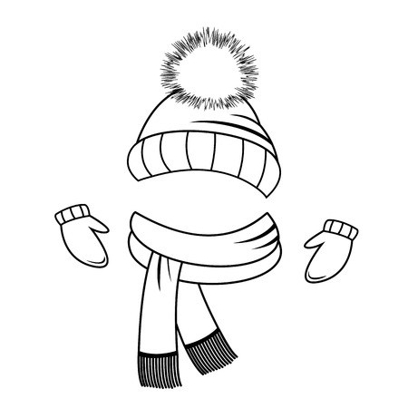 Collection of winter clothing Hat, scarf and mittens Coloring book Vetores