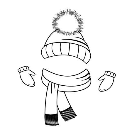 Sammlung von Winterkleidung Hut, Schal und Handschuhe Malbuch Vektorgrafik