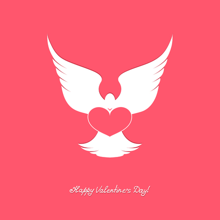 carrier pigeons: White dove with pink heart. Happy Valentines Day