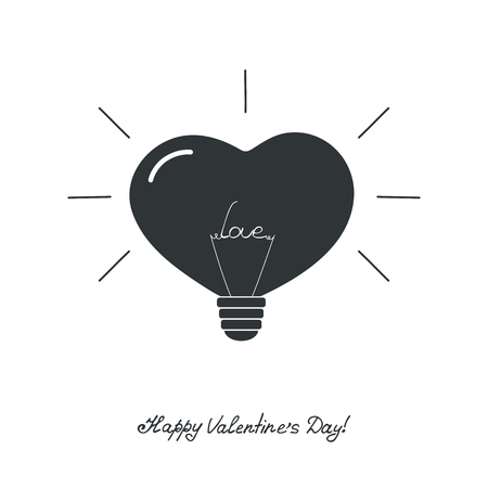 The lamp in the shape of a heart with the word love. Icon for Valentines Day. Logo design for store fixtures, bulbs