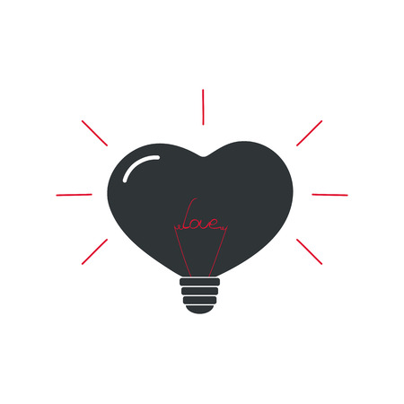 The lamp in the shape of a heart with the word love. Icon for Valentines Day. design for store fixtures, bulbs. Illustration