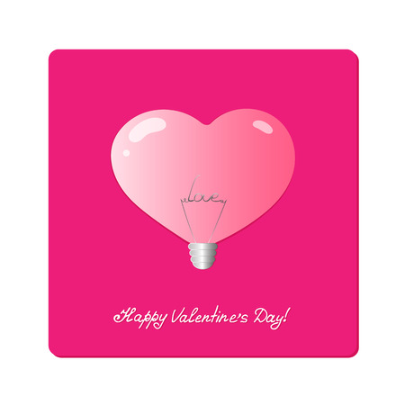 Realistic pink lamp with the word love inside. Valentines Day. Concept design for store fixtures