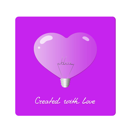 Electric light bulb in shape of heart. Realistic purple lamp with the word idea inside. Greeting Card Valentines Day. Inspiration concept. Handwriting Created with love Illustration