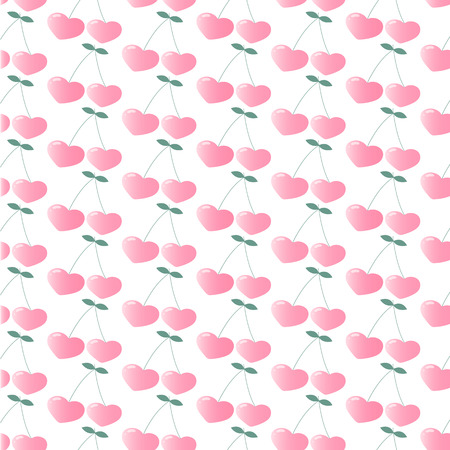 Pink cherry in the form of hearts. Seamless repeating pattern. Wallpaper. Figure for printing on fabric, wrapping paper. Illustration