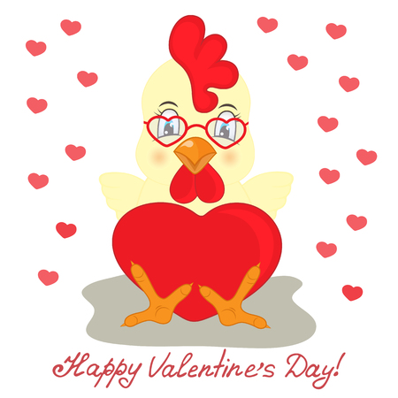 bantam hen: Yellow rooster in glasses with red heart. Congratulations to the St. Valentines Day
