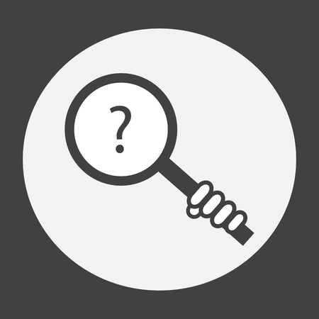searcher: Hand holding a magnifying glass with a question mark. Illustration