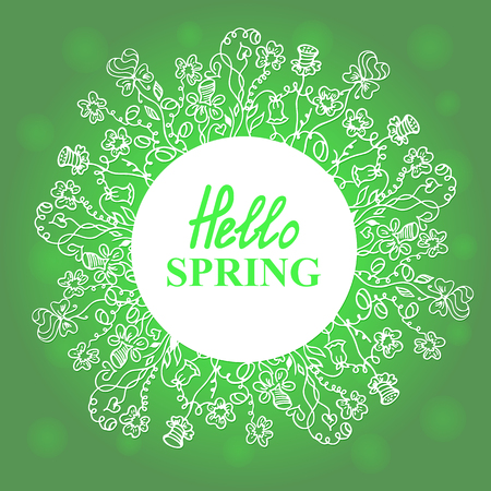 notecard: Hello Spring. Floral doodles wreath. Concept design for a seasonal sale, greeting cards, stickers, invitations