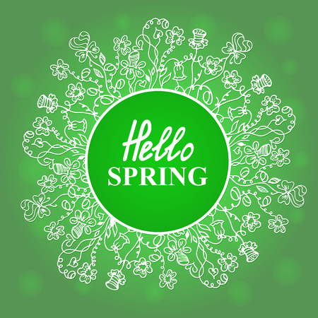 Hello Spring. Flower frame. Concept design for a seasonal sale, greeting cards, stickers, invitations.