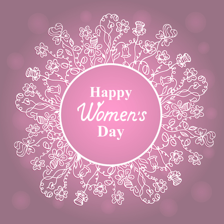notecard: Happy Womens Day. March 8. Flower frame. Concept design for a holiday sale, greeting cards, stickers, invitations. Illustration
