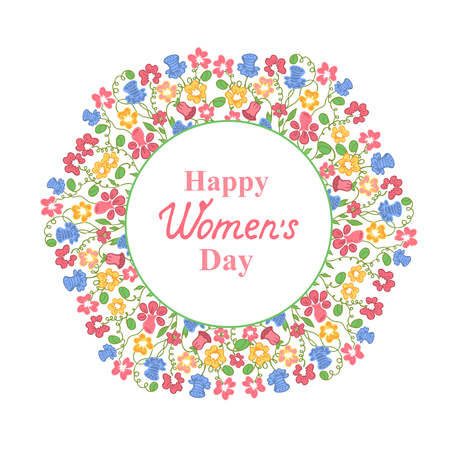 notecard: Happy Womens Day. March 8. Multicolour floral wreath. Concept design for a holiday sale, greeting cards, stickers, invitations.