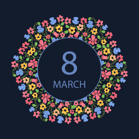 notecard: Happy Womens Day. March 8. Multicolor flower wreath. Design for a holiday sale, greeting cards, invitations.
