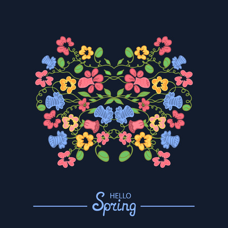 notecard: Multicolored illustration made of flowers and herbs. Floral doodles ornament. Design element for wedding invitation template, envelope, thank you , RSVP, save the date cards. Spring elements for Mothers, Womens Day. 8 March. Happy Easter.