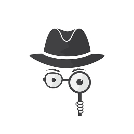 lurcher: Unknown man in hat, spectacles and a magnifying glass in hand. Inspector. Detective icon