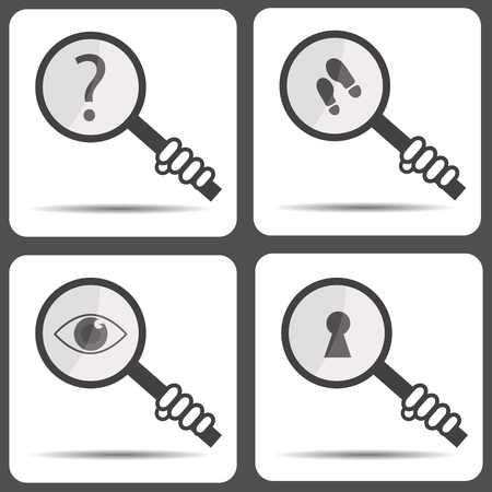 searcher: Set icons with a magnifying glass. Detective icon Illustration