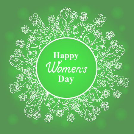 notecard: Happy Womens Day. March 8. Flower and herbage frame. Concept design for a holiday sale, greeting cards, flyers, invitations.