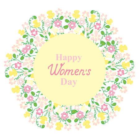 notecard: Happy Womens Day. March 8. Flower and herbage wreath. Concept design for a holiday sale, greeting cards, flyers, invitations.