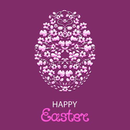 Happy Easter. Paschal egg from flowers and herbs Illustration