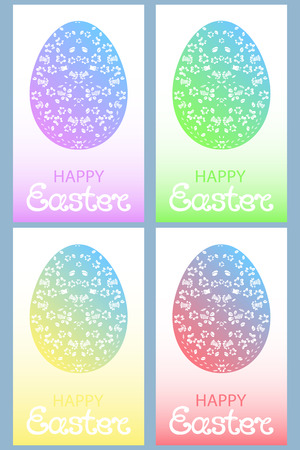 pascha: Set of colored Easter eggs with floral ornament.