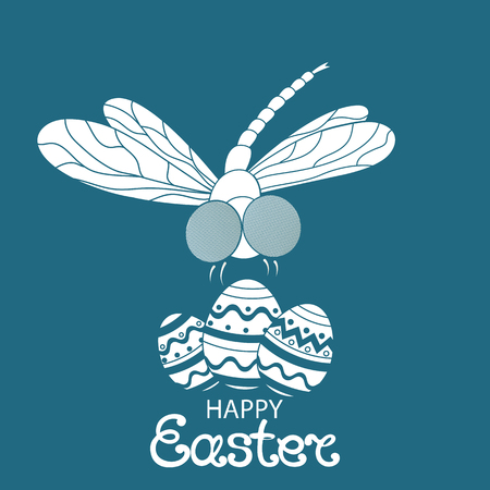 Happy easter. Paschal Eggs. Dragonfly.