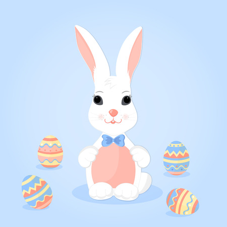 Easter Bunny with ears in a bow and paschal eggs.