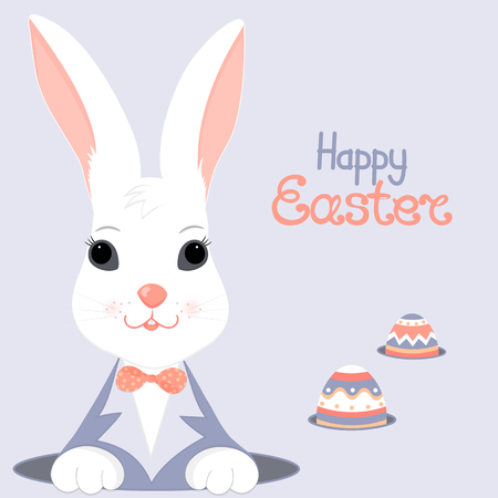 The Easter white rabbit in a blue jacket with a bow looks out of the hole. Paschal eggs in burrows Illustration