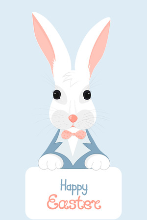 Rabbit holds a card with the written Happy Easter