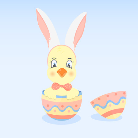 A chick with ears like a rabbit in the Easter egg Illustration