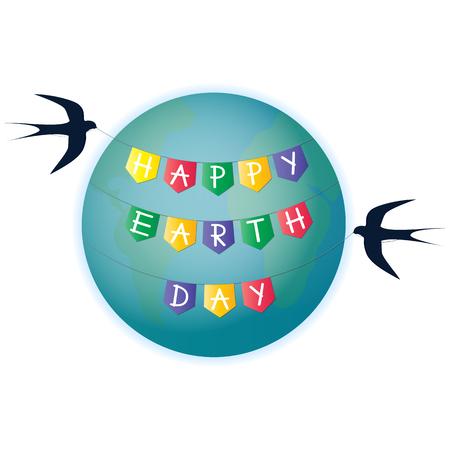 Hirondelles enroulées autour du sol une guirlande avec des drapeaux Happy Earth Day