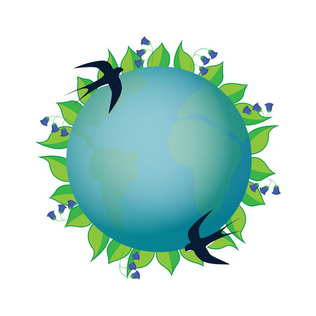 Earth Day. Planet in a wreath with leaves and blue bells. A pair of swallows hovers over the ground. Illustration
