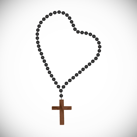 木製の十字架と黒真珠とカトリックの心を込めた数珠  イラスト・ベクター素材