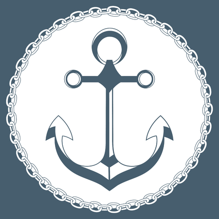 brigantine: Anchor in a frame with a chain marine concept logo