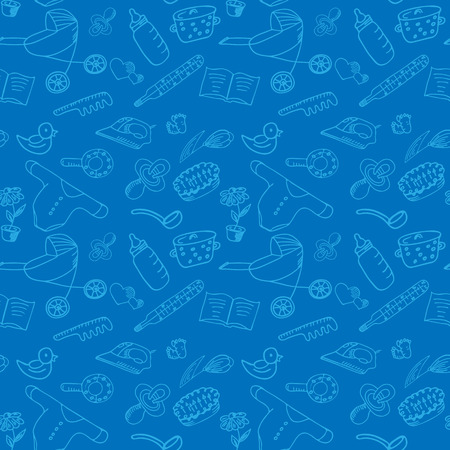 household goods: Childrens accessories. Household elements. Seamless pattern for baby shower. Packaging paper for kids goods.