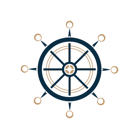 Nautical steering wheel vector icon. Ship helm.