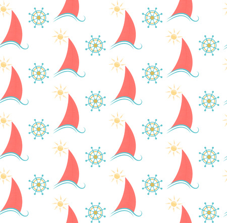 seamless pattern sailboat and the steering wheel. Illustration