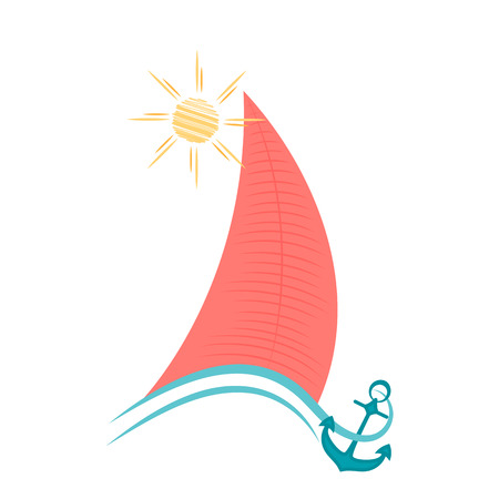 Sailboat on waves with an anchor. Maritime concept Illustration