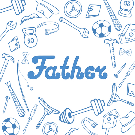 Fathers Day. Greeting card in doodle style. Illustration