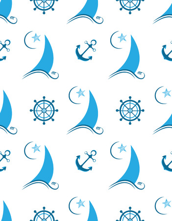 Sailboat, anchor and helm seamless pattern.