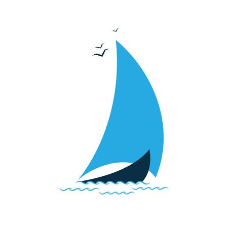 Sailboat in the sea. Logo for the tourist company