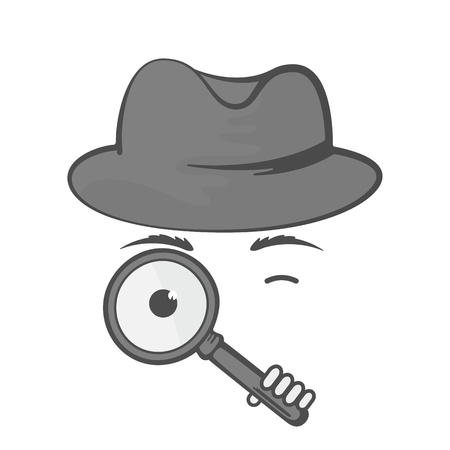 Detective in a hat with a magnifying glass. Spy. Snoop. Illustration