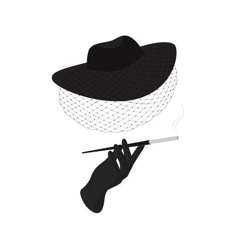 Een dame in een hoed met een sluier en een sigaret